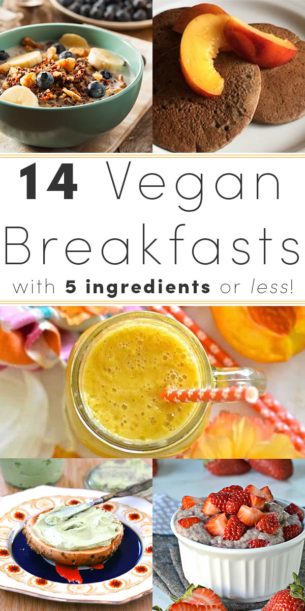 You don't need a lot of fancy ingredients to start the day with a healthy vegan breakfast! Try these delicious vegan breakfasts with five ingredients or less.