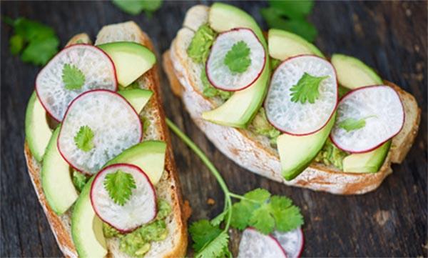 Avocado Toast with Radishes and Cilantro