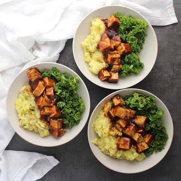 BBQ Tofu Mashed Potato Bowls