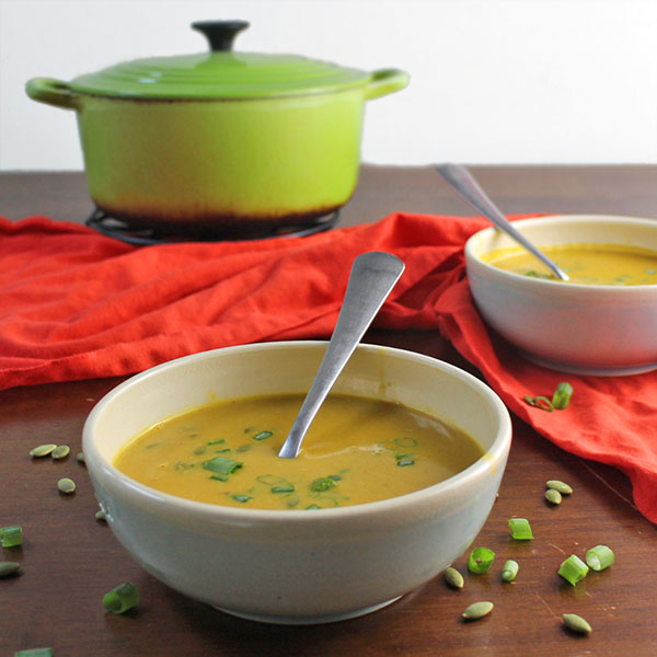 Flavorful, creamy Curried Pumpkin Coconut Soup is perfect to warm you up on a cool fall evening, and it couldn't be simpler to make.