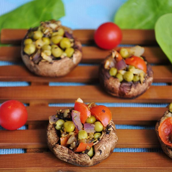 Pea Garlic Stuffed Mushrooms from Vegan Family Recipes