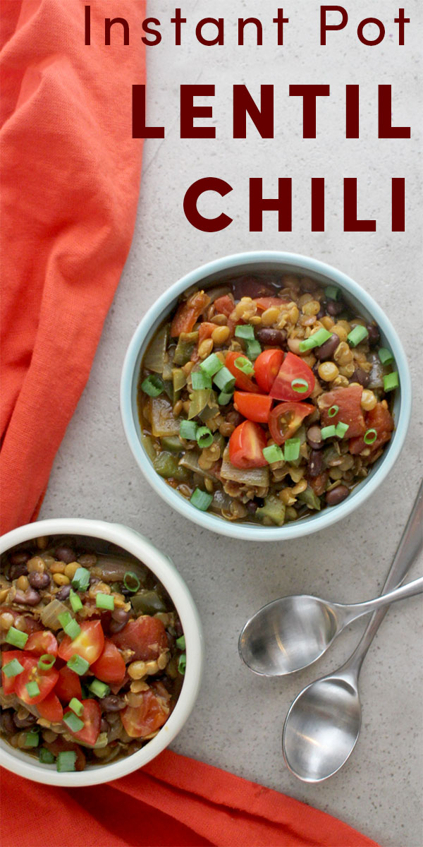 Hearty lentils take the place of ground beef in this deeply-seasoned Instant Pot Lentil Chili recipe that cooks up quickly and easily in your pressure cooker!