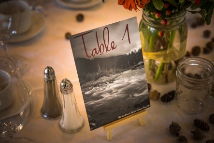 Instead of traditional table numbers, we used photos from our travels in nature to decorate the tables. Just another way to bring nature into the city. (Photo by Wynn Photo)