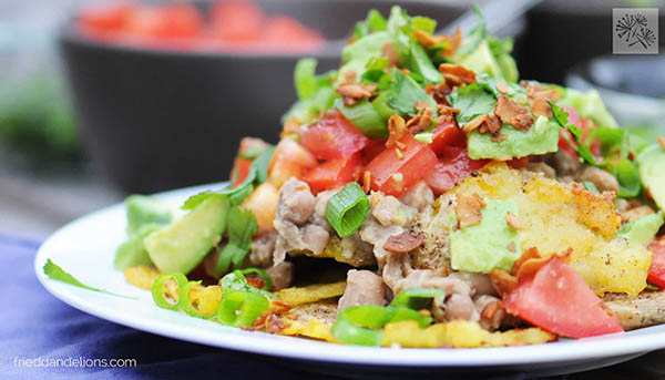 Baked Potato Nachos from Fried Dandelions