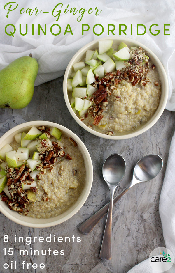 Put leftover quinoa to work with this healthy breakfast quinoa recipe! Pear-Ginger Quinoa Porridge cooks up in just about 15 minutes on your stovetop - you can even make it on a busy weekday morning!