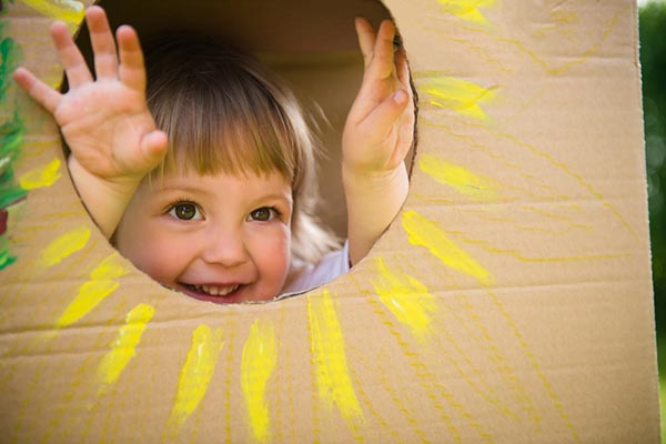 Let your kid turn leftover cardboard boxes into a cardboard playhouse!