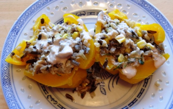 Sweet Bell Peppers Stuffed with Wild Rice