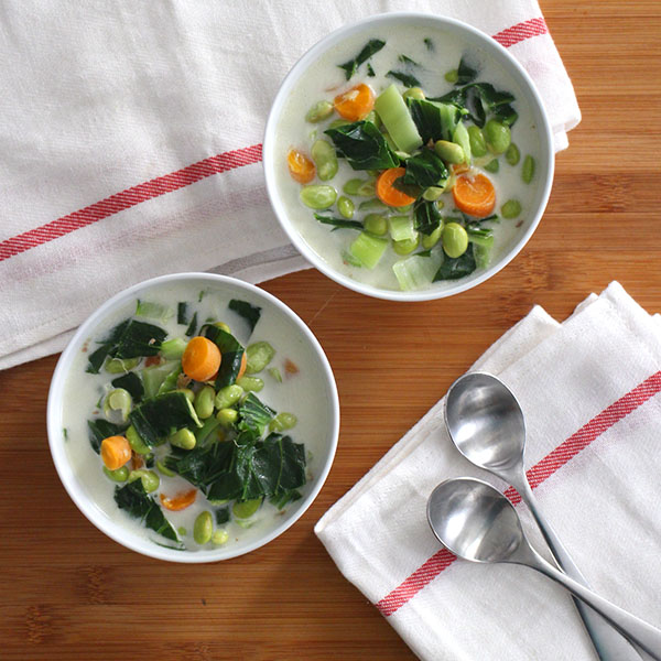 Hearty Instant Pot Coconut Soup is packed with flavor and a dose of healthy greens. You only need seven ingredients and about 15 minutes to make it!