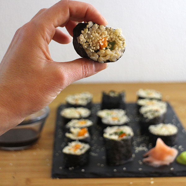Roasted sweet potato and fresh green onion make a healthy, satisfying filling for this brown rice sushi roll.