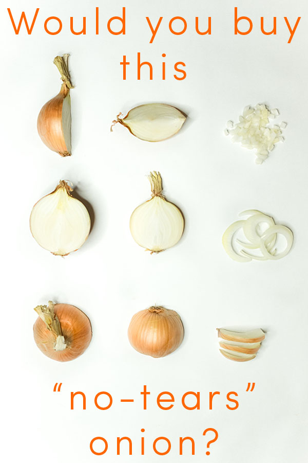 Food scientists have bred non-GMO onions, called Sunions, that won't make you cry when you cut them. These no-tears onions are hitting store shelves now.