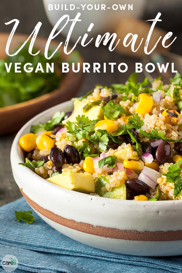 Learn how to build a vegan burrito bowl, with recipes for grains, beans, veggies, and other delicious toppings!