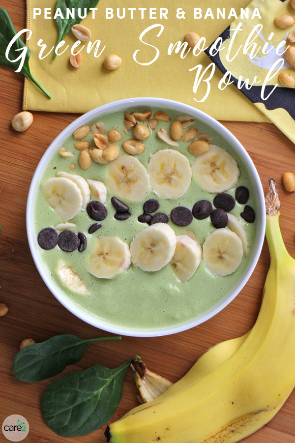 Smoothie bowls don't have to include fancy, expensive ingredients. You probably have what you need for this protein-packed Peanut Butter and Banana Green Smoothie Bowl in your kitchen already.