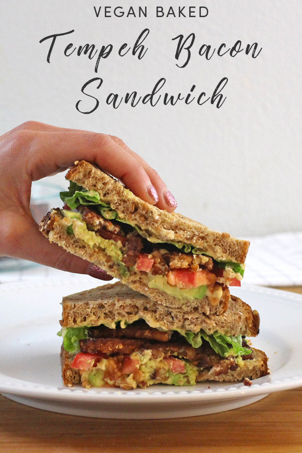 Baked tempeh bacon is the base for this flavorful, protein-packed Vegan Tempeh Bacon Sandwich that's delightful for breakfast or for lunch.
