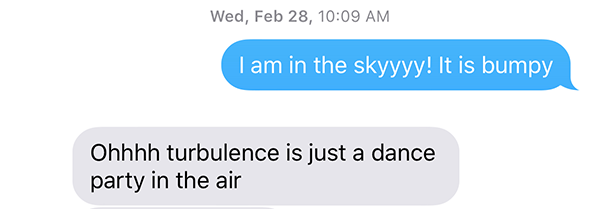 flying anxiety text