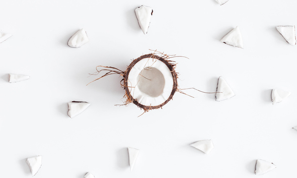 Coconut pattern on white background. Flat lay, top view, square