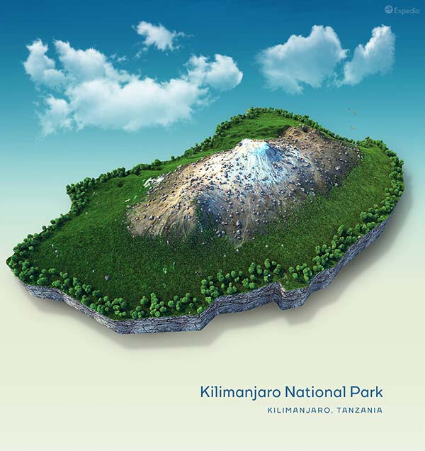 Kilimanjaro National Park Topographical Map