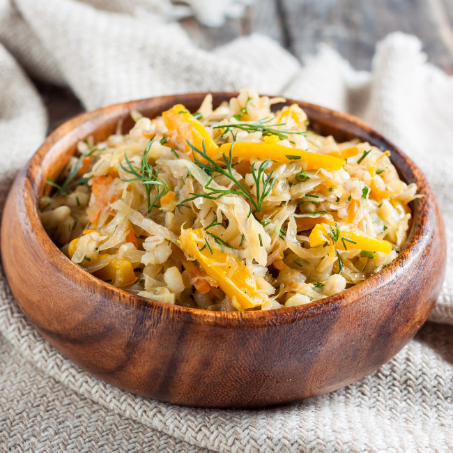 Braised Cabbage and Yellow Peppers with Barley