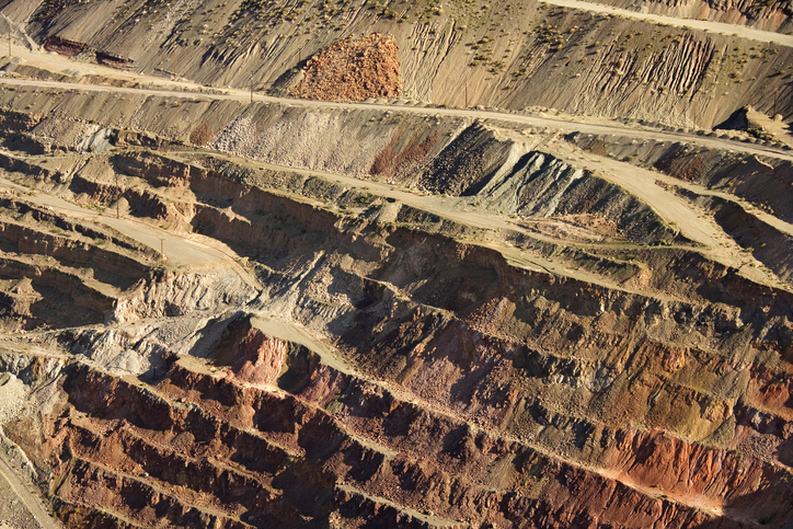 Aerial view of mining