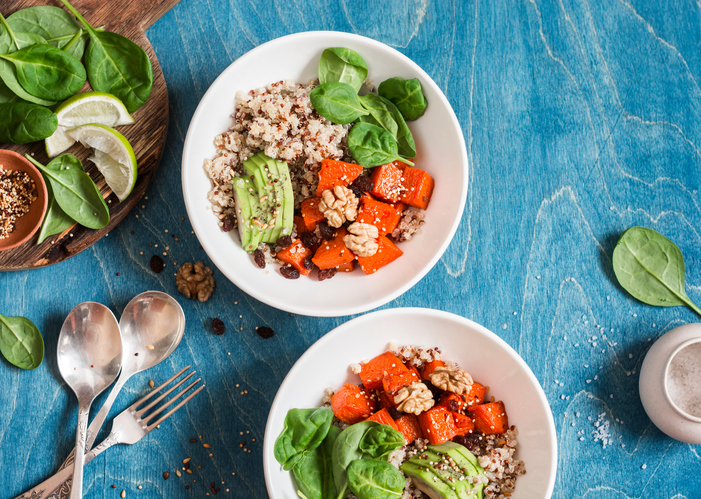 Quinoa with pumpkin, spinach and avocado. Healthy quinoa bowl.