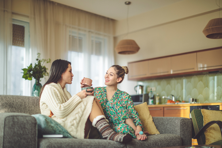Young women at home