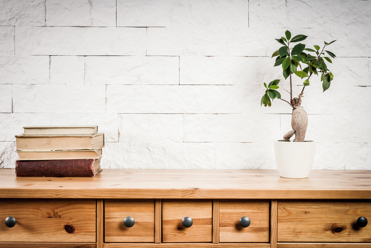 wood dresser with books and a plant