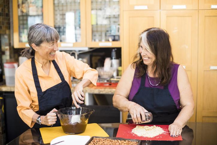 Senior Women Friends Cooking in Kitchen