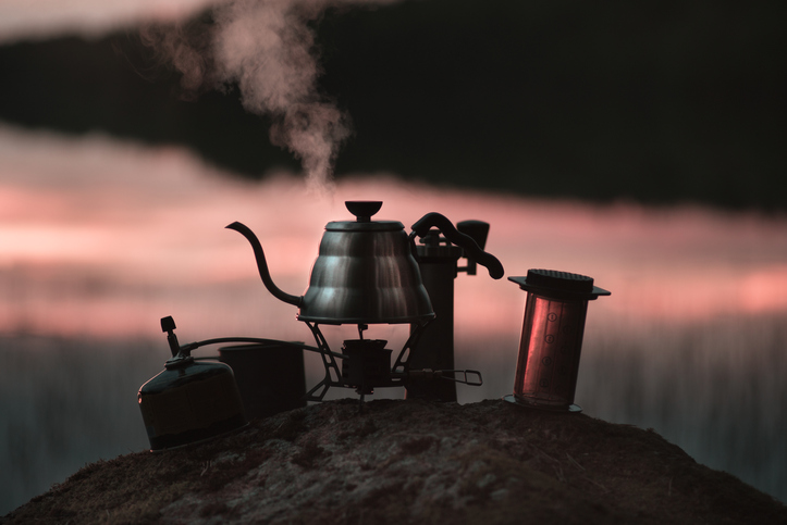 boiling kettle and coffee or tea accessories in the evening or morning