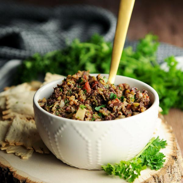 Olive Tapenade from Fried Dandelions