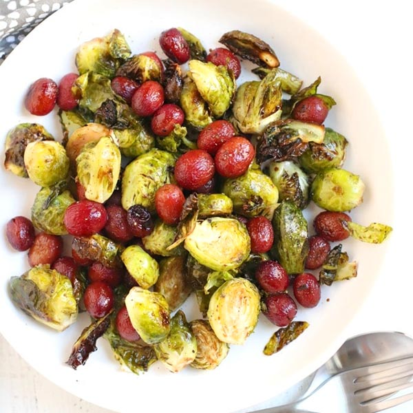 Roasted Brussels Sprouts with Grapes from Veggies Save the Day