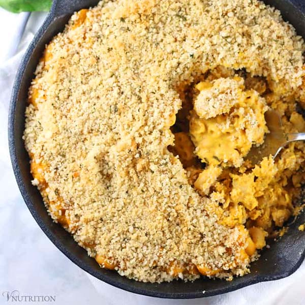 Vegan Pumpkin Mac and Cheese from V. Nutrition and Wellness