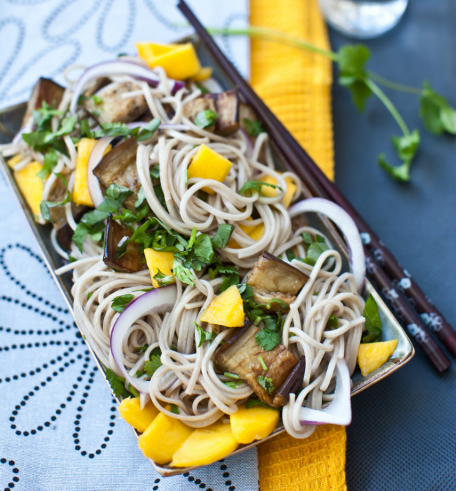 Eggplant and Mango Soba Noodles