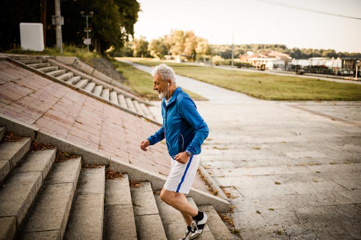 Senior man running.