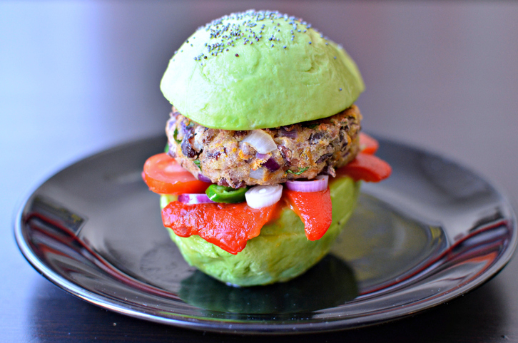 Avocado bun burger with red beans patty