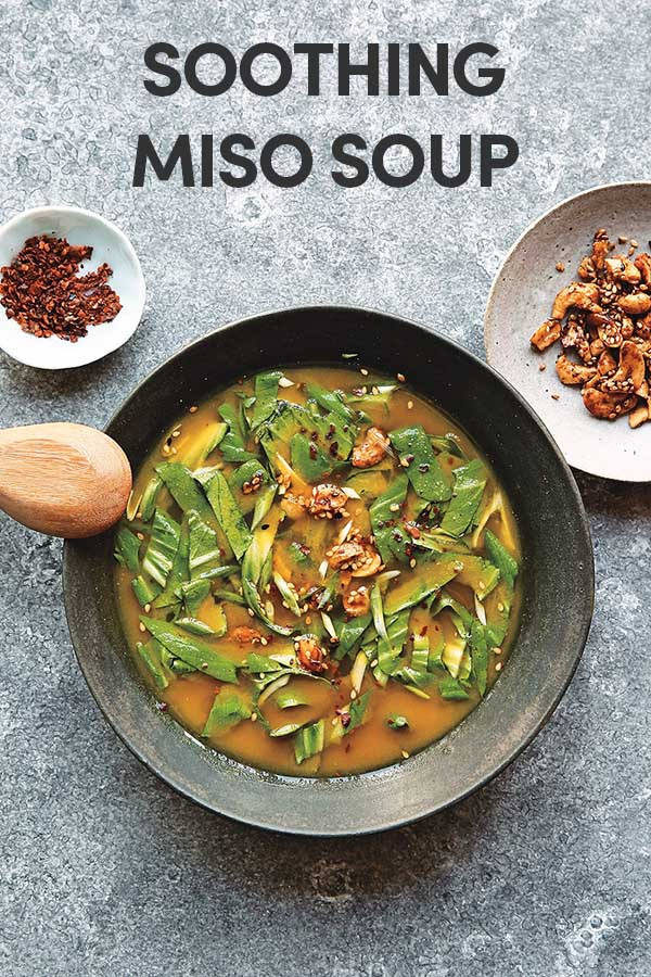 You can serve this Soothing Miso Soup as-is or add plant-based mix-ins, like baked tofu, sliced avocado or sauteed mushrooms.