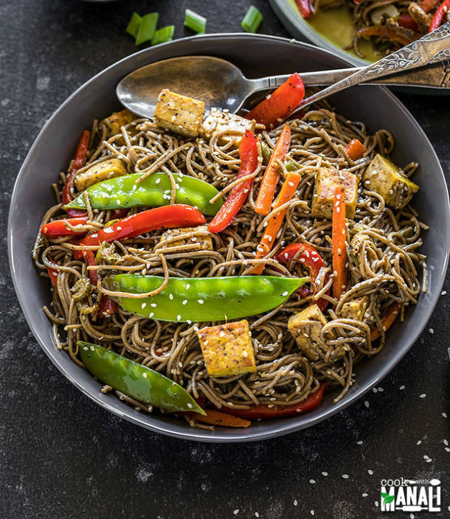Vegan-Soba-Noodles-Stir-Fry with Curried Tofu