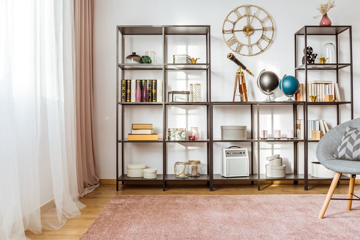 living room with a large bookcase