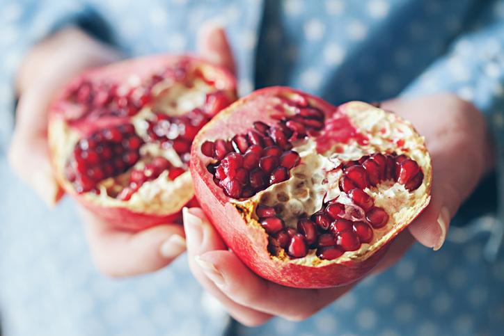 pomegranate split in half