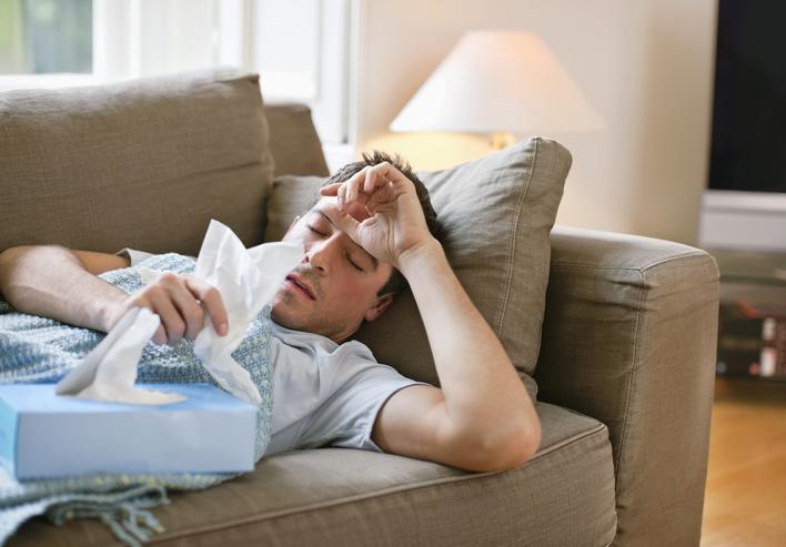 sick man resting