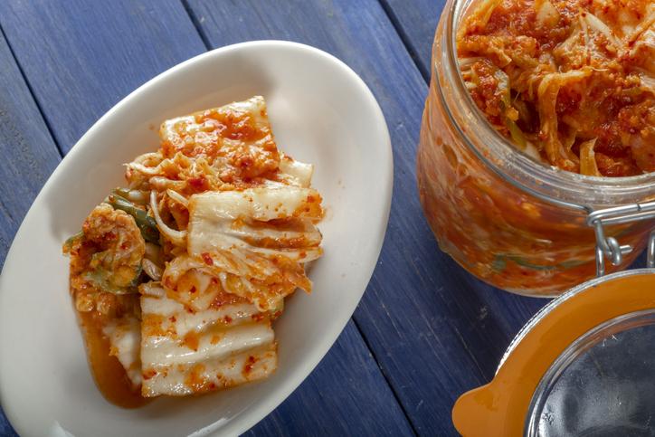 Fresh Homemade Kimchee in Glass Jar