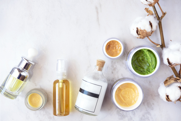 Natural skincare cosmetics from above