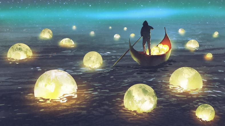 man harvesting moons on the sea