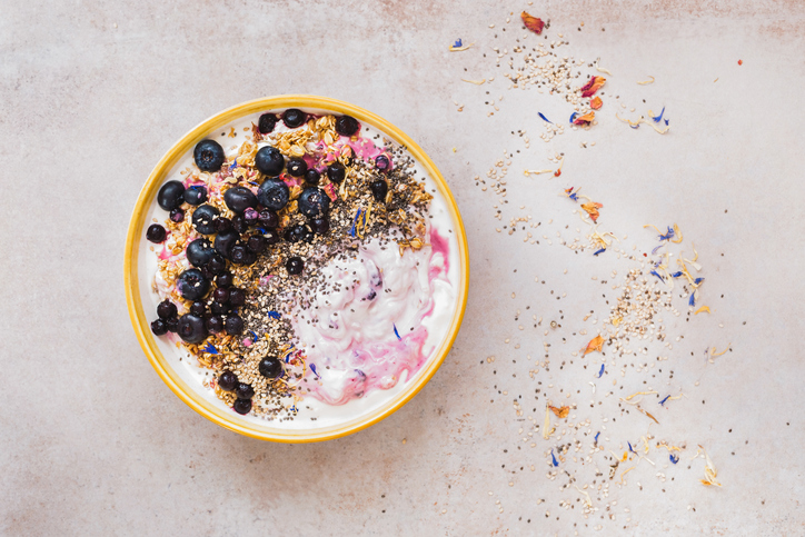 Coconut blueberry breakfast bowl with chia and sesame seeds