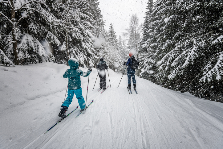 three people skiing on a snowy path with trees