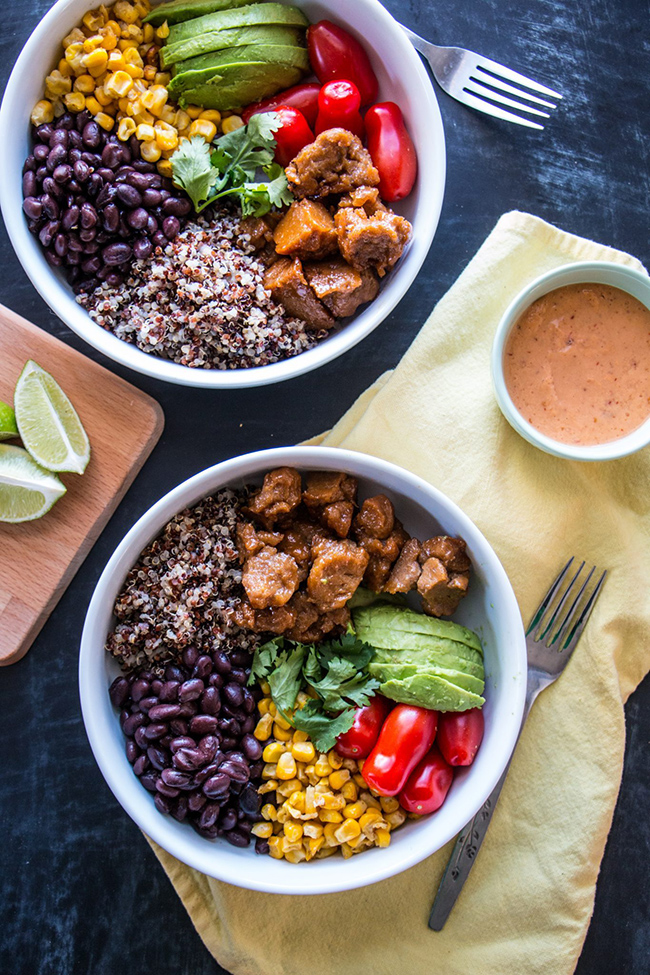 Southwest Buddha Bowl with Agave Lime Seitan from The Nut-Free Vegan - Care2