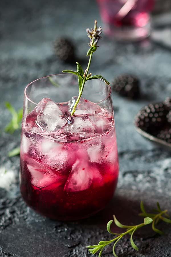 Blackberry Lemonade with lavender on a vintage  background