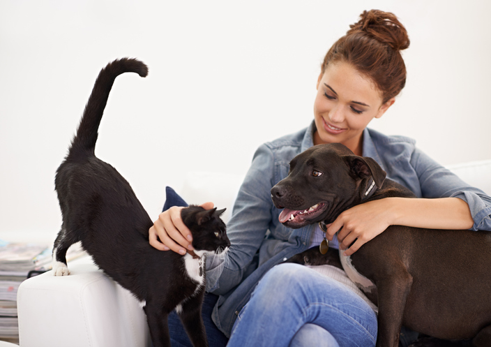 A woman sits with a black cat and dog.