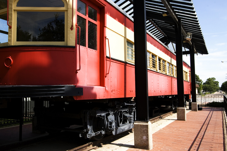 Railcar restored and preserved near Downtown Plano rail station in Plano, Texas