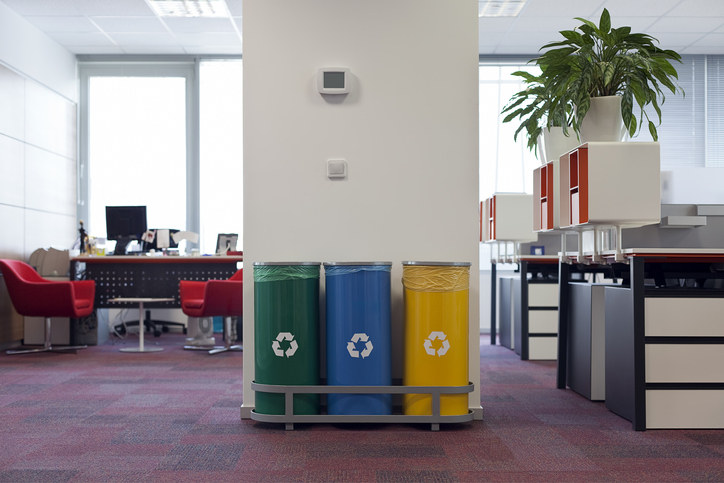Recycling bins in office