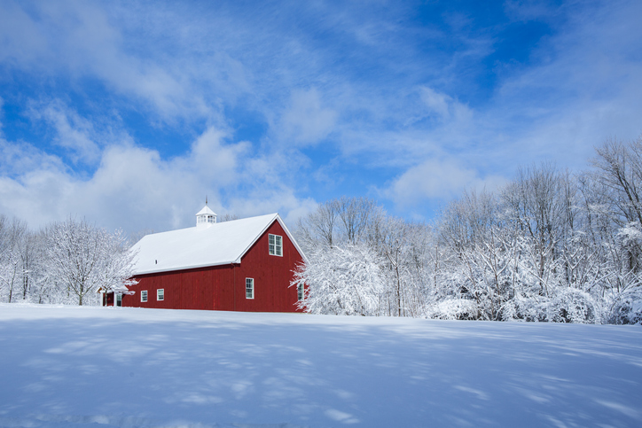 New England Barn in the Snow