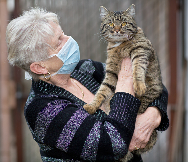 senior woman wearing a face mask holding a cat